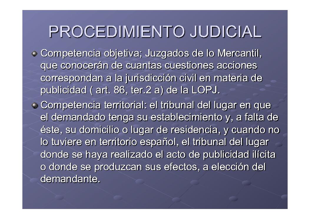 Procesos xudiciais en materia de publicidade
